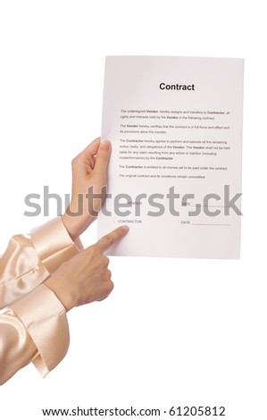 The managing director showing for her contractor place of signing - stock photo