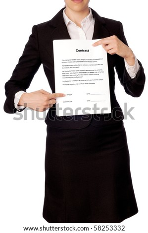 The managing director specifies in places for signatures in the contract - stock photo