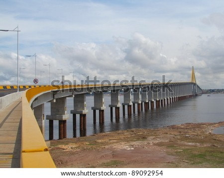 The Manaus Iranduba Bridge - Cable-stayed bridge (called Ponte Rio Negro in Brazil) is a bridge over the Rio Negro with 3595 meters of length that links the cities of Manaus and Iranduba.