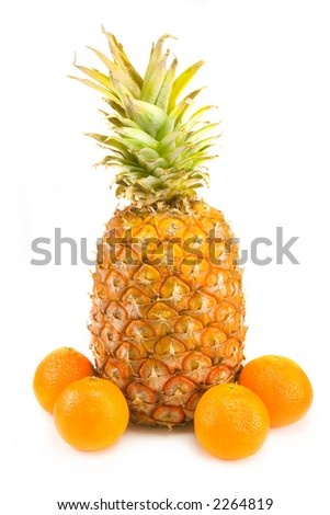 the mandarins and pineapple isolated on white background