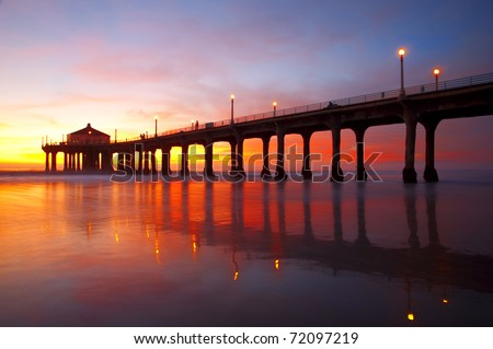 The Manhattan Beach Pier under a beautiful sunset - Los Angeles, California. - stock photo