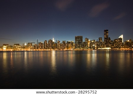the Manhattan skyline at night