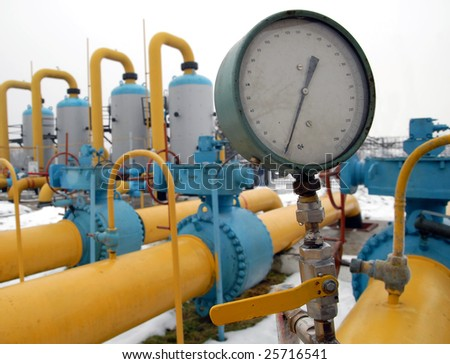 the manometer and pipeline station equipment - stock photo