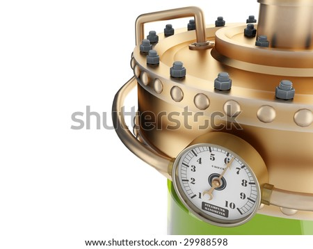 the manometer on refinery station isolated on white background - stock photo