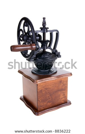 The manual coffee grinder on a white background