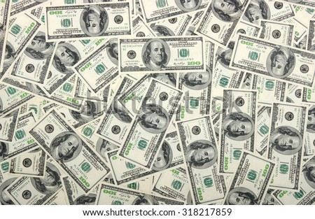 the many dollars. money background - stock photo