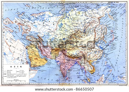 the map of asia with names of cities and countries on map from the late 1800s