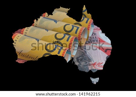 the map of Austrailia with the currency as the background - stock photo