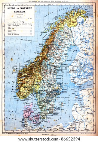 Map sweden norway denmark explanation signs stock photo royalty the map of sweden norway and denmark with explanation of signs on it old gumiabroncs Images