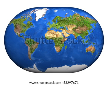 The mapa mundi in high resolution painted over white. - stock photo