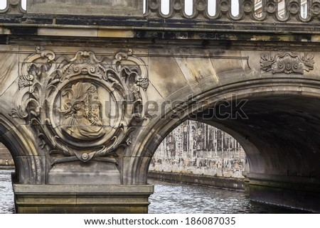 The Marble Bridge and the pavilions near Christiansborg Palace in Copenhagen, Denmark - stock photo