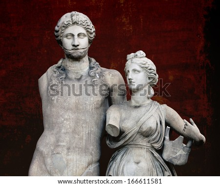 The marble sculpture of young roman couple   - stock photo