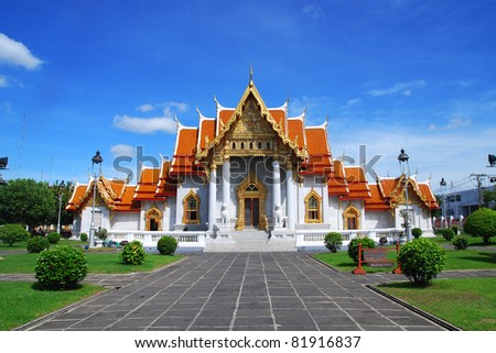 The Marble Temple in Thailand  name watbencha - stock photo