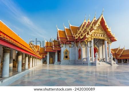 The Marble Temple(Wat Benchamabophit ), Bangkok, Thailand - stock photo