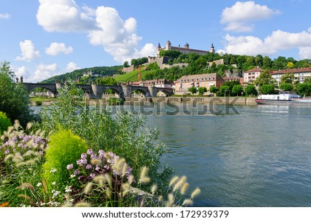 The Marienberg fortress and the Old Main Bridge in Wurzburg, Germany - stock photo