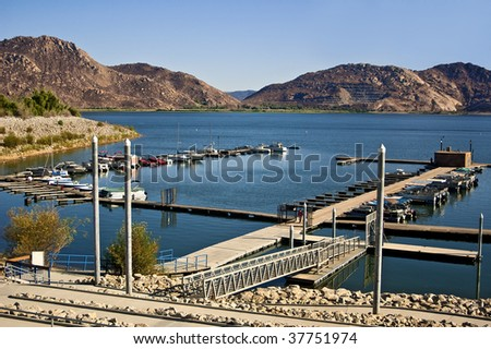 The Marina at Lake Perris State Park in Moreno Valley, California - one of the most popular lakes in Southern California. - stock photo