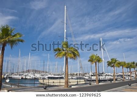 The Marina at Playa Blanca Lanzarote - stock photo