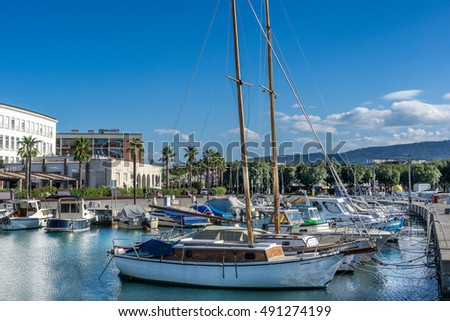 The marina in Koper on the coast of Slovenia