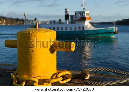 The marina. Sailing ship in the background out of focus - stock photo