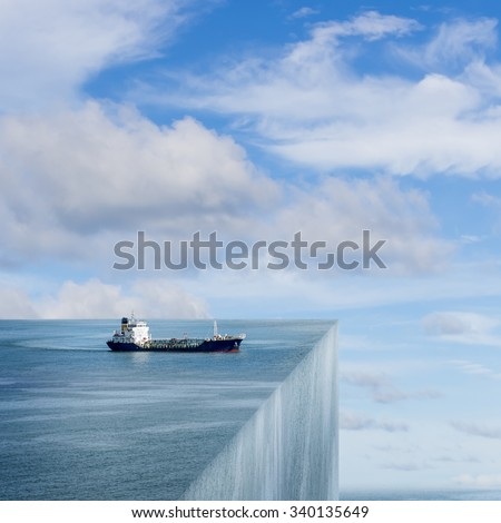The marine cargo ships. Risk concept surreal art. - stock photo