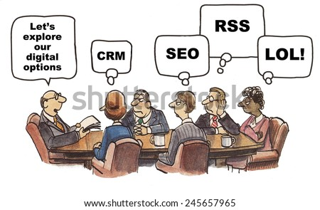The marketing team is exploring their digital advertising options, and acronyms. - stock photo