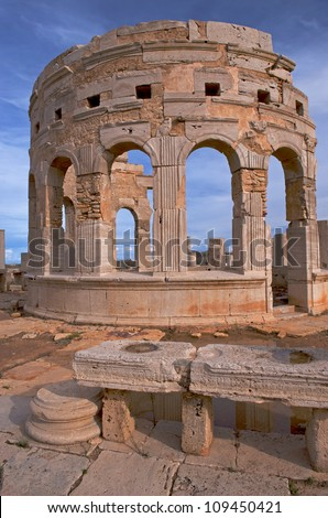 The marketplace at the spectacular ruins of Leptis Magna near Al Khums, Libya - stock photo