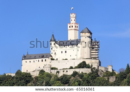 """The """"Marksburg"""" Castle in the Rhine valley Germany - stock photo"""