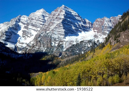 The Maroon Bells iconic mountains of Colorado - stock photo