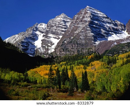 The Maroon Bells in the White River National Forest of Colorado. - stock photo
