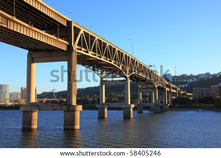 The Marquam Bridge in Portland, Oregon - stock photo
