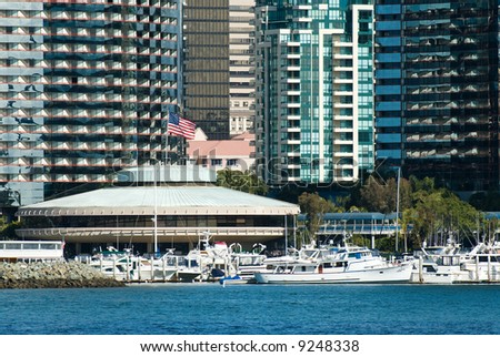 The Marriott Hotel and Marina as seen from on the water of the San Diego bay. - stock photo
