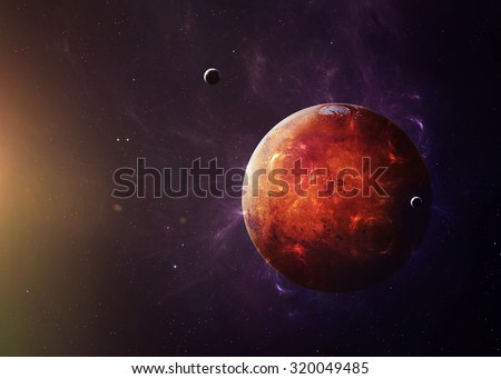 The Mars shot from space showing all they beauty. Extremely detailed image, including elements furnished by NASA. Other orientations and planets available. - stock photo