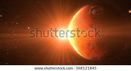 The Mars sunrise shot from space showing all they beauty. Extremely detailed image Elements of this image furnished by NASA - stock photo