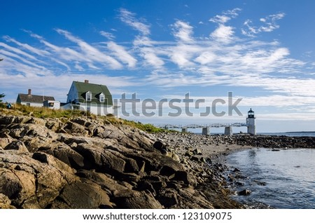 The Marshall Point Lighthouse, Port Clyde, Maine - stock photo