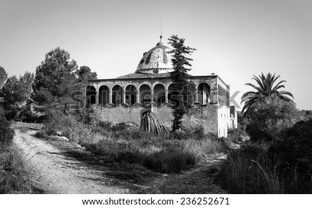The Mas d'en Sorder consists of buildings from different eras, now abandoned. It is considered of cultural interest by the city of Tarragona, Spain. Black and white photography - stock photo