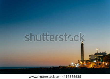 The Maspalomas' lighthouse at sunset in Grand Canary island