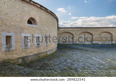 The massive bastion with gun ports in Slovakia city Komarno . - stock photo