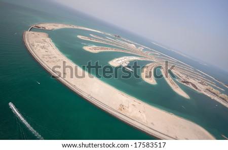 The Massive Jumeirah Palm Island Development In Dubai - stock photo