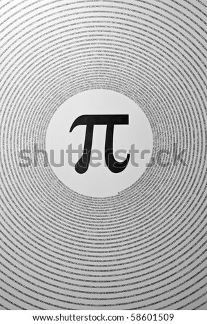 The mathematical constant Pi depicted as a greek letter in the center of circles made up of its digits (3.1415926...). - stock photo