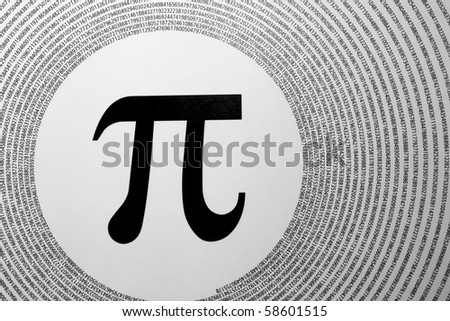 The mathematical constant Pi depicted as greek letter in the center of circles made up of its digits (3.1415926...). - stock photo