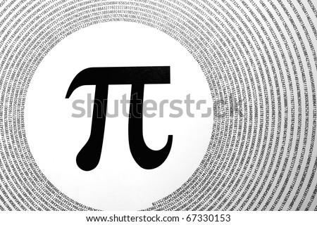 The mathematical constant Pi depicted as greek letter in the centre of circles made up of its digits (3.1415926...). - stock photo