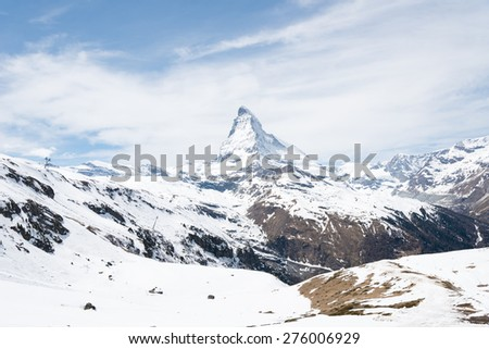 The Matterhorn is a mountain of the Alps - stock photo