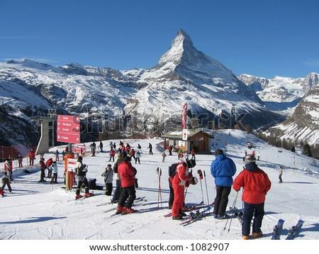 The Matterhorn summit in the Alps - stock photo