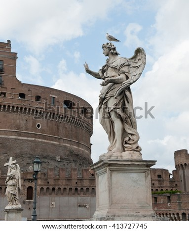 The Mausoleum of Hadrian or Castel Sant' Angelo (Castle of the Holy Angel), Rome, Italy - stock photo