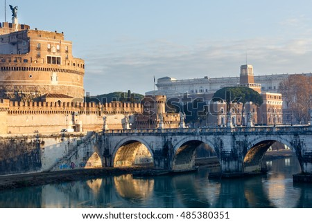 The Mausoleum of Hadrian (or Castle of the Holy Angel) in Rome, Italy. Morning view. Build in 123-139.
