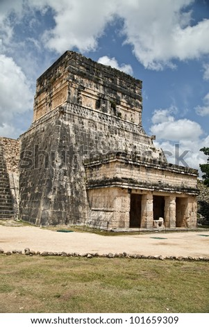 The mayan ruins of Ball Court in Chichen Itza. - stock photo
