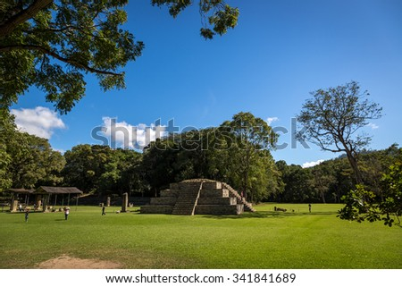 The mayan ruins of Copan in a blue sky day, Unesco heritage site. Central America. - stock photo