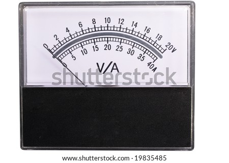 The measuring device with an arrow on a white background is isolated