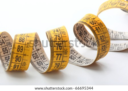 The measuring tape isolated on white background.