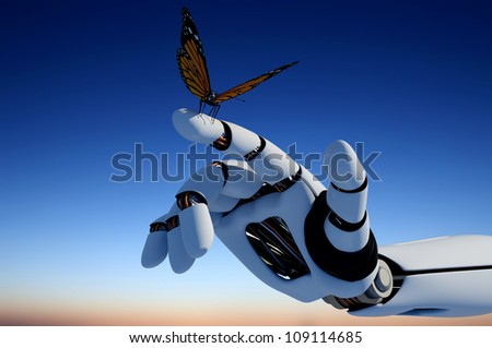 The mechanical arm and a butterfly. - stock photo